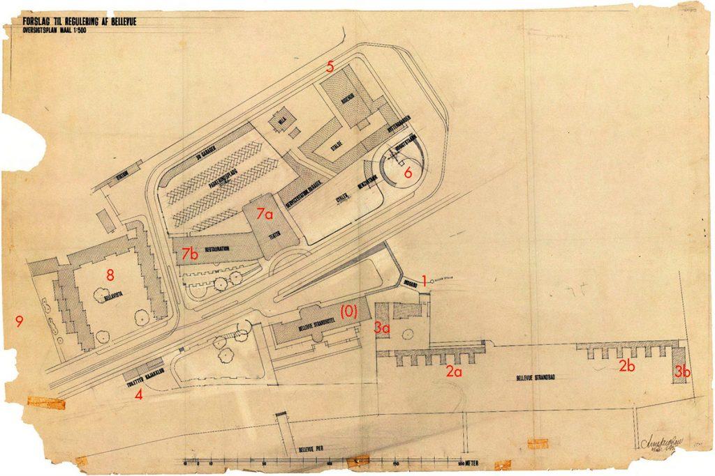 Arne Jacobsen Plano original del conjunto de edificios proyectados para Bellevue (noviembre de 1935). Leyenda (0) Antiguo Hotel de la Playa existente en Klampenborg. (1) Pabellón de acceso al recinto de playa. (2a2b) Vestuarios femeninosmasculinos. (3a3b) Aseos femeninosmasculinos. (4) Club de piragüismo. (5) Escuela de hípica 'Mattsson'. (6) Torre-mirador con el restaurante giratorio no construido. (7a7b) Teatro 'Bellevue' y restaurante adyacente. (8) Bloque de apartamentos 'Bellavista'. (9) Futura ubicación del residencial 'Soholm' donde Jacobsen ubicaría su casa-estudio en 1951.