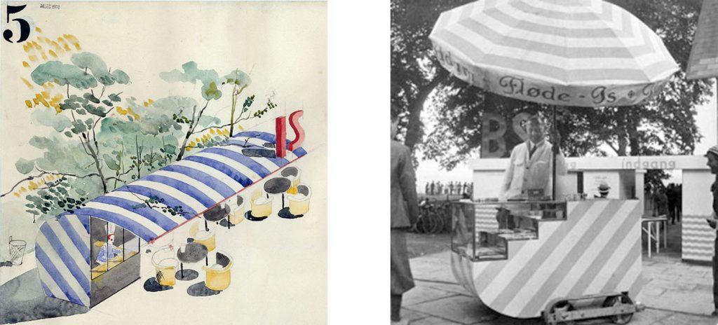 """Arne Jacobsen Puesto de venta de helados (""""IS"""" en danés) y carrito móvil para venta de souvenirs y otros artículos para la apertura de la playa de Bellevue en 1932."""