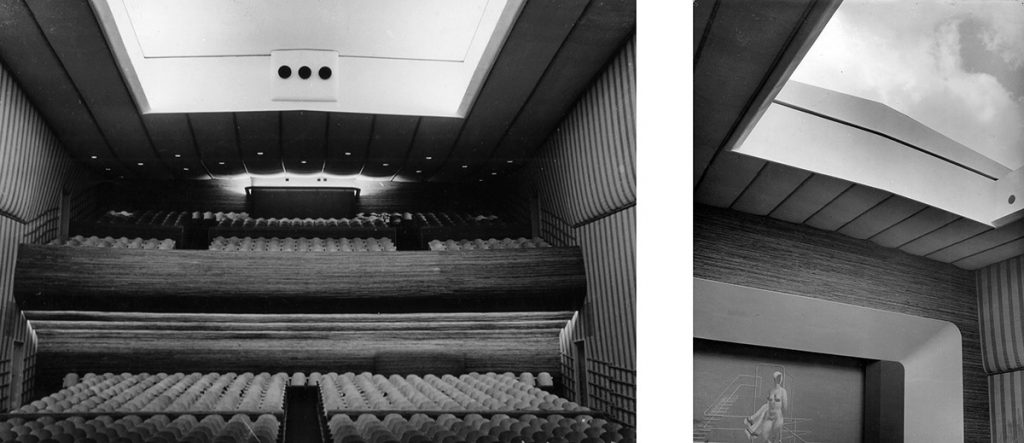 Arne Jacobsen: Interior del Teatro 'Bellevue' (1935-37) con el patio de butacas convertido en suave oleaje, las paredes tapizadas con franjas de color azul y blanco, y el techo abierto al cielo.