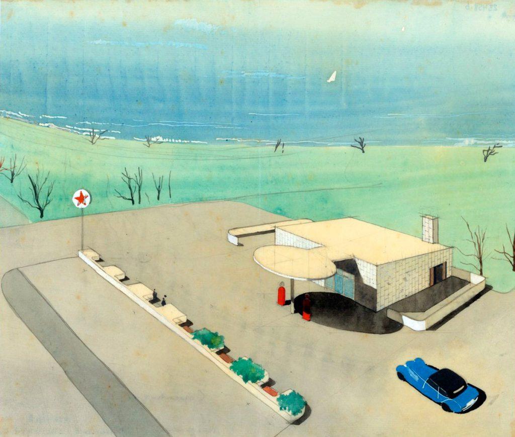 Perspectiva en acuarela del proyecto para la estación de servicio de la compañía 'Texaco' proyectada por Arne Jacobsen en 1937.