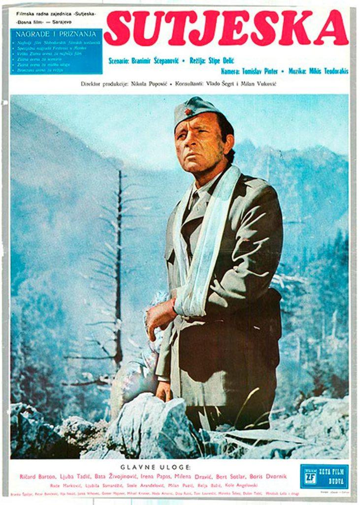 Cartel de la película Sutjeska con Richard Burton en papel de Tito