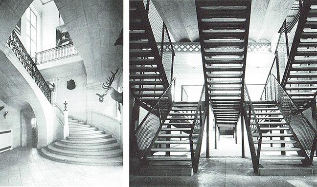 Escaleras en el Hotel Guenegaud des Brosses, de Mansart, 1653; y escaleras rampa del Instituto La Llauna, Enric Miralles y Carme Pinós, 1984-86. Incluidas en Arquitectura Viva nº35, marzo-abril 1994, págs. 114-115.