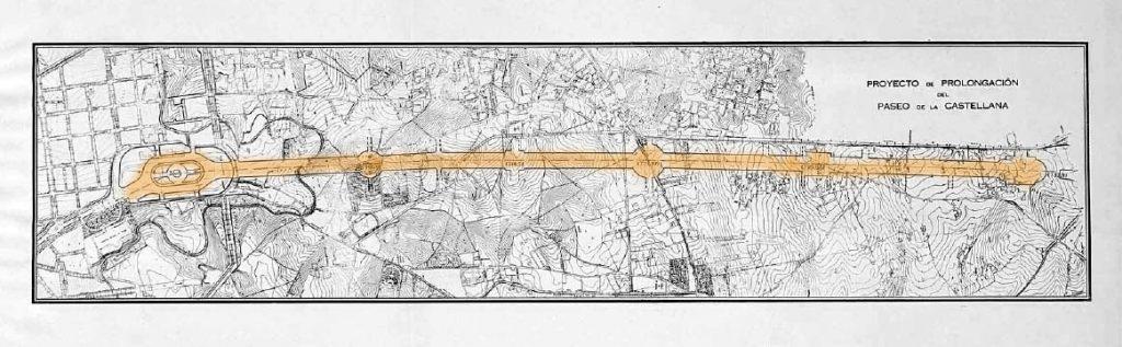 """Proyecto de prolongación del Paseo de la Castellana publicado en 1929 por el Ayuntamiento de Madrid en su memoria """"Información sobre la ciudad""""."""