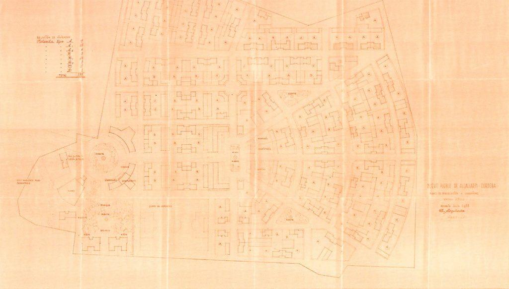 Algallarín, plano de conjunto (primera propuesta). Carlos Arniches, 1953r |Fuente: Arniches y Domínguez: Museo ICO, del 4 de octubre de 2017 al 21 de enero de 2018. Catálogo de la Exposición (2017). Madrid: Fundación ICO.