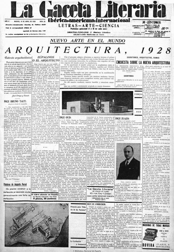Encuesta sobre la nueva Arquitectura. La Gaceta Literaria. 15 abril 1928|Fuente: Hemeroteca de la Biblioteca Nacional de España.