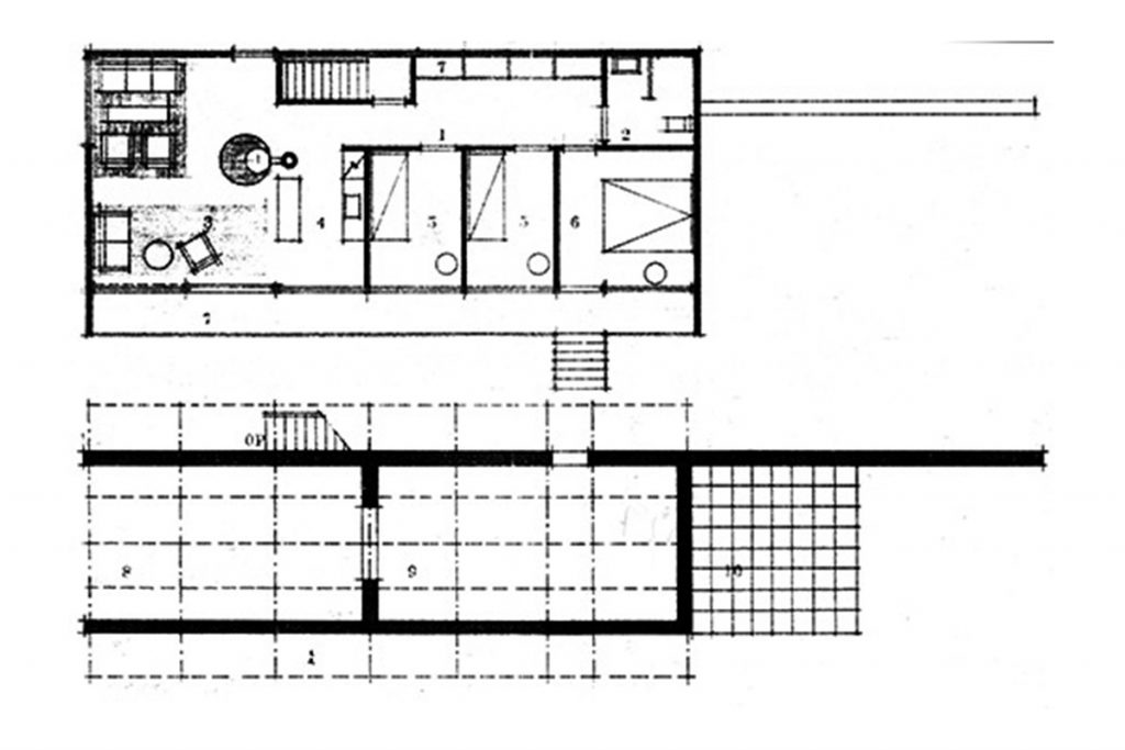 Jacobsen plantas del proyecto definitivo para la casa Kokfelt (1955-56).