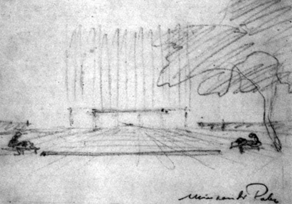Mies van der Rohe boceto de la perspectiva de acceso al Seagram Building a nivel de calle desde Park Avenue, New York (h. 1955).