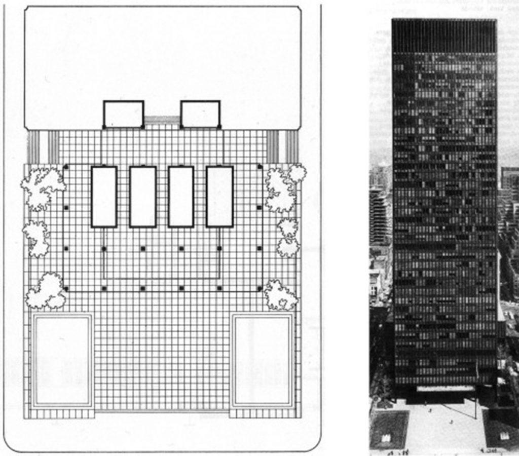 """Selección de imágenes para publicación del Seagram Building por W.Blaser (""""Paperback"""")."""