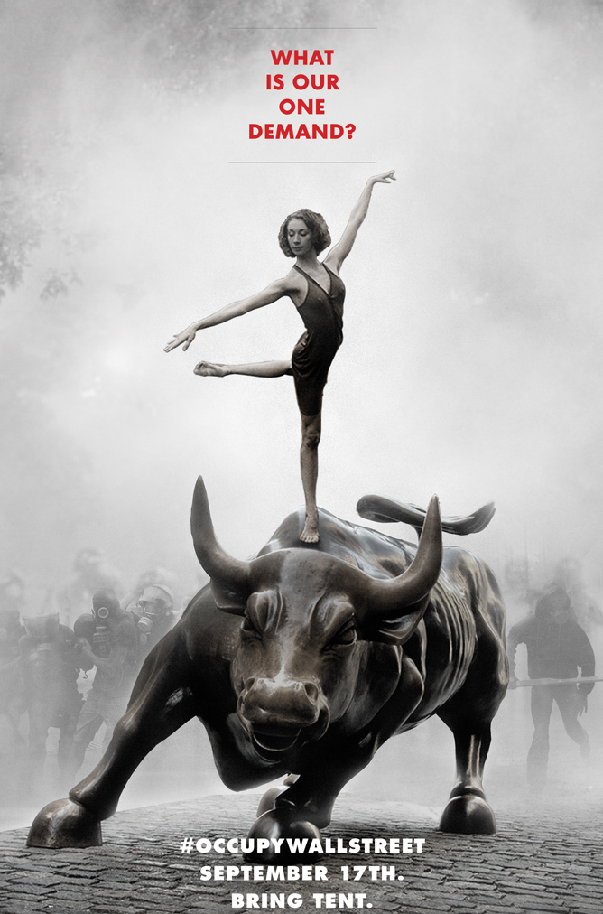 Contrapublicidad gráfica. Cartel de la organización Adbusters con motivo de Occupy Wall Street. Septiembre de 2011