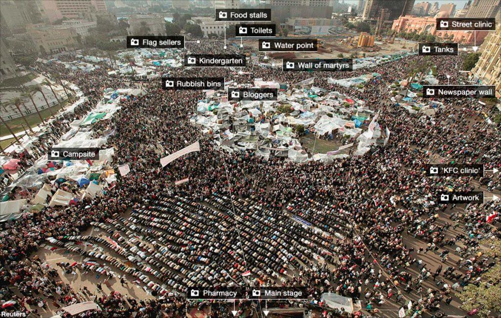 En la red se puede encontrar esta foto interactiva con la ocupación del espacio público de la plaza Tahrir en el centro de El Cairo. Febrero de 2011 | Fuente: bbc.co.uk