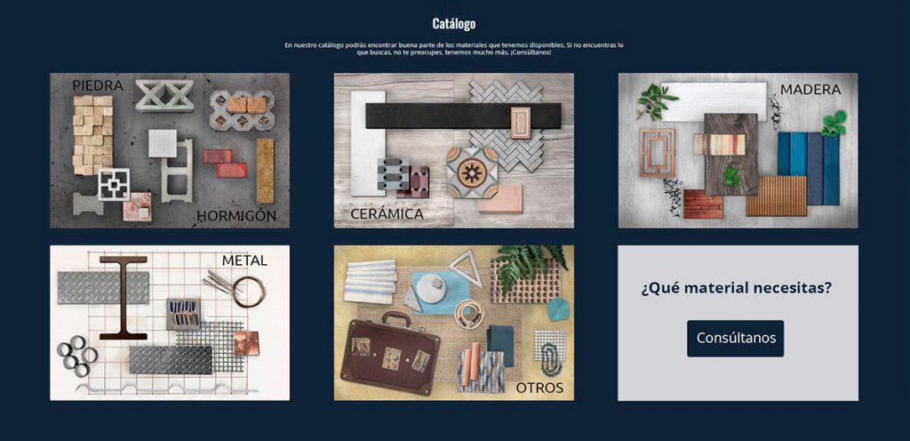 Catálogo de materiales ofrecidos por MatMap