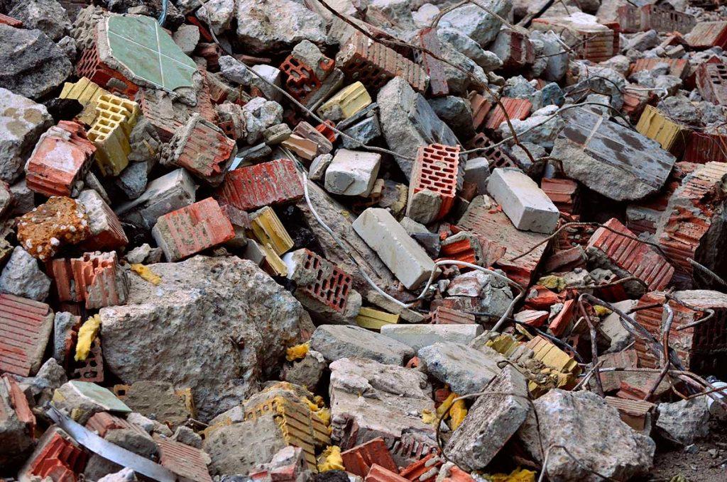 Imagen de escombros habitual en una demolición