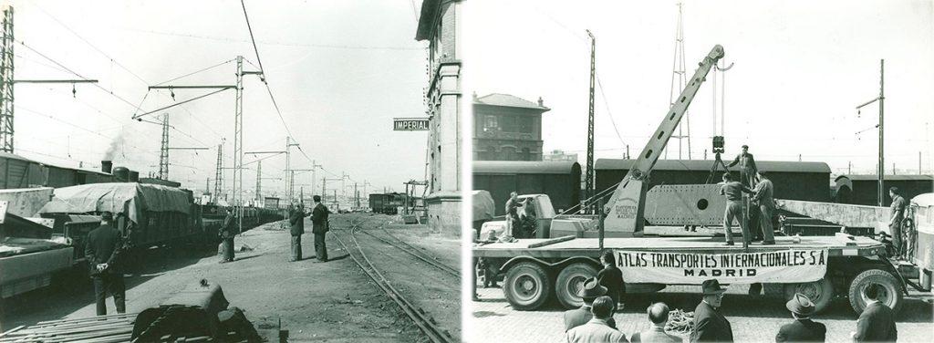 Llegada a Madrid del pabellón en 1961. Procedencia: Archivo de la Cámara de Comercio de Madrid