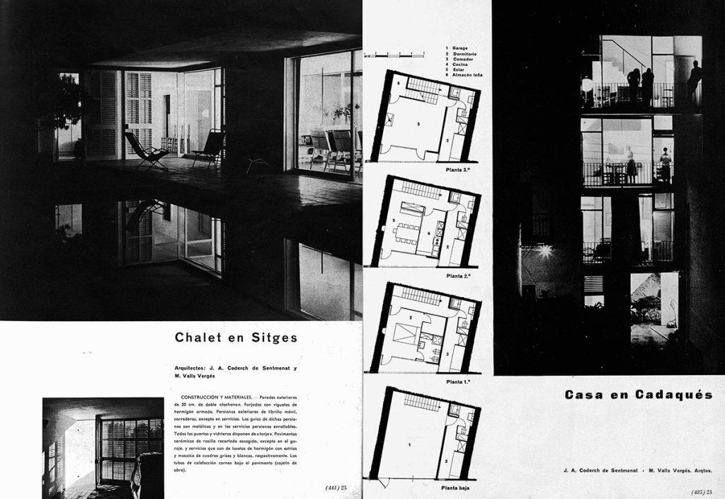 Fig.1. / Fig.2. Página inicial de la reseña de la casa Catasús (izq.) en Cuadernos de Arquitectura (n.33, 1958) y de la casa Senillosa (dcha.) en Cuadernos de Arquitectura (n.34, 1958).