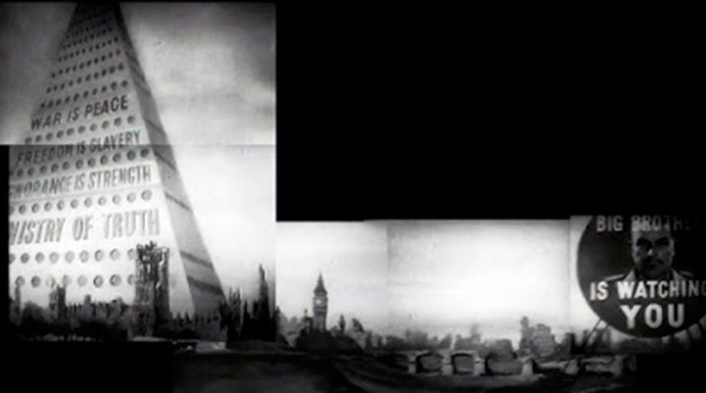 Composición con la panorámica de derecha a izquierda del inicio de la película para televisión1984(Rudolph Carter, 1954)