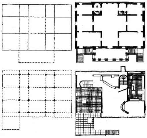 "Colin Rowe (da ""The Mathematics of the Ideal Villa"") La Malcontenta di Palladio, 1560 (in alto) e la Villa Stein di Le Corbusier, Garches 1927"