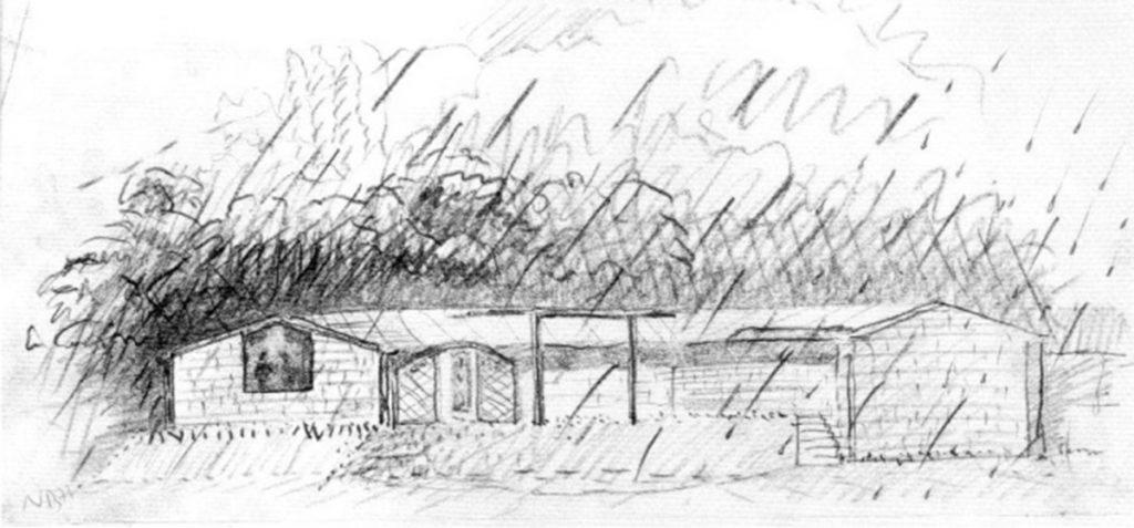 Boceto Casa de la lluvia en Lierganes, 1979, Juan Navarro Baldeweg.