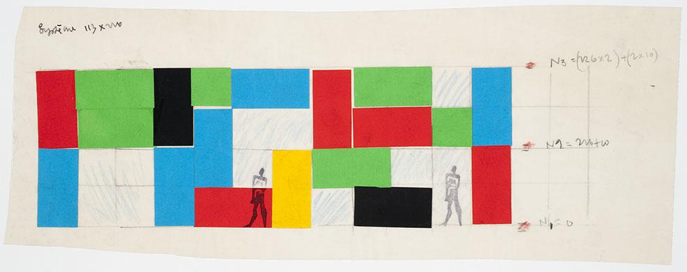 Le Corbusier, boceto para la Maison de l'homme, Zurich, Suiza, 1961-1963. Tinta, lápiz color, grafito y montaje sobre papel traslucido [15.4 × 40.2] Canadian Centre for Architecture © FLC-ADAGP