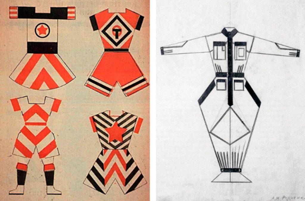 Izq: Diseño de ropa de deporte de Vavara Stepanova   Dcha: jumpsuit diseñado por Alexander Rodchenko   Fuente