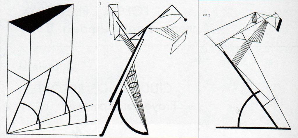 Esquema del edificio-manzana. | Estructura de la torre de radio-comunicación. | Estructura de la torre de radio-comunicación.