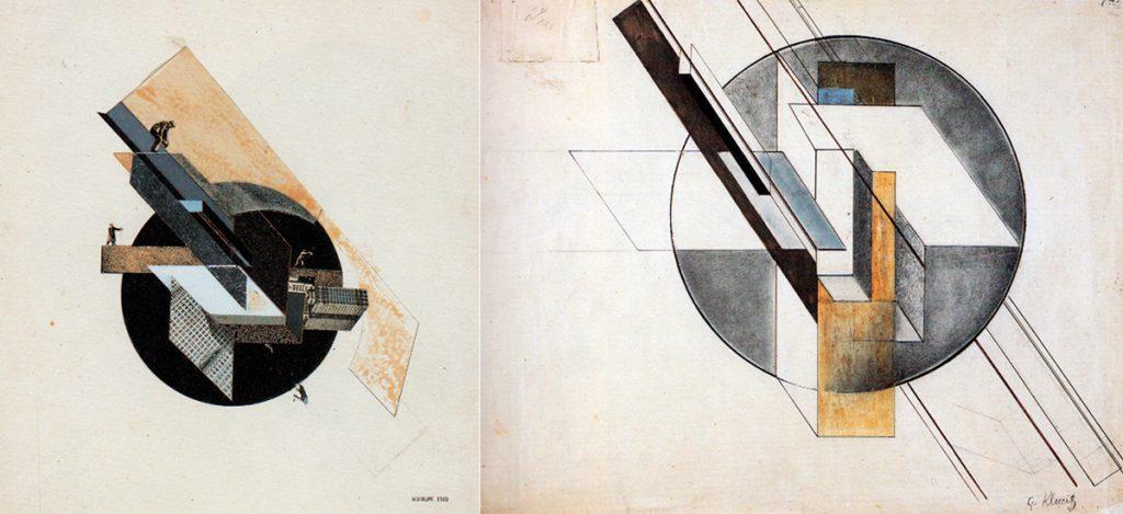 Izq. Gustav Klutsis: Ciudad Dinámica, 1919 | Derecha. Gustav Klutsis: Construcción, 1921.