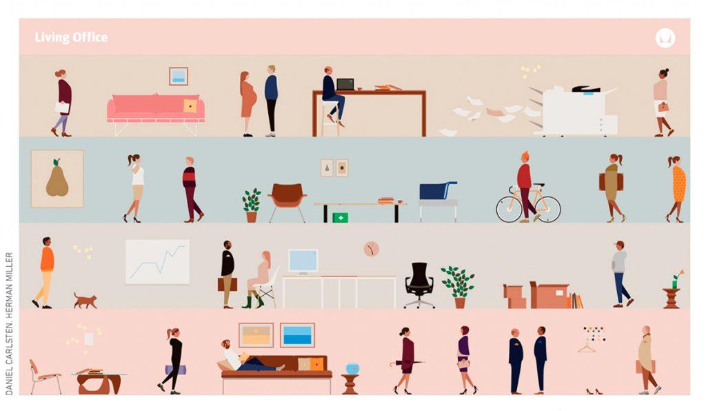"""Fondo de escritorio basado en el """"espíritu global de un espacio de trabajo digital moderno"""" que recrea el paisaje de trabajo de la serie Living Office."""""""