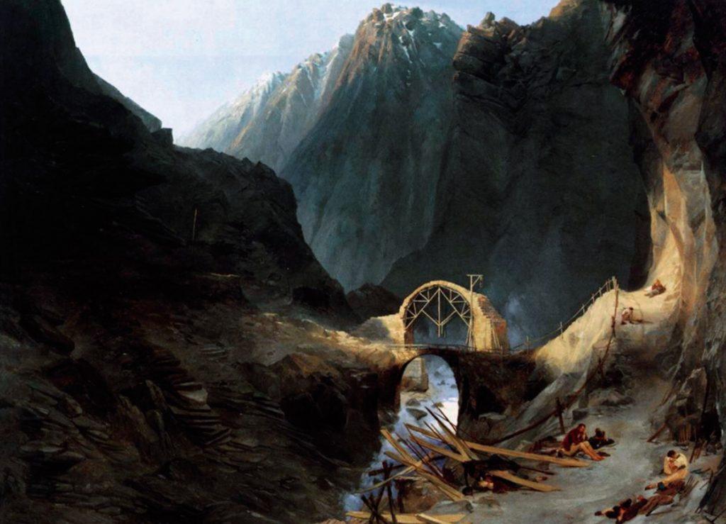 Karl Blevhen. Bau der Teufelsbrücke. c. 1830-1832. Óleo sobre lienzo. 77,8x104x5 cm. Bayerische Staatgemäldesammlungen. Munich.