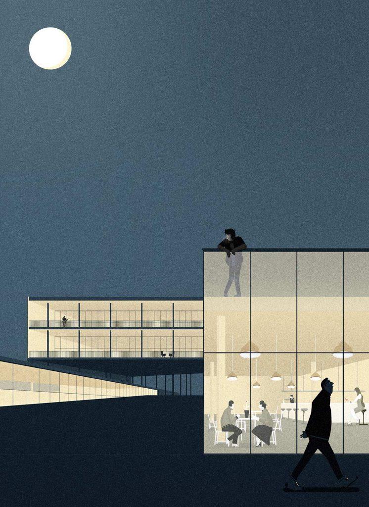 Proyecto de edificio de uso mixto en Loja, 2017. Ilustración de arquitectura. Cliente: Ana Asensio © memosesmas