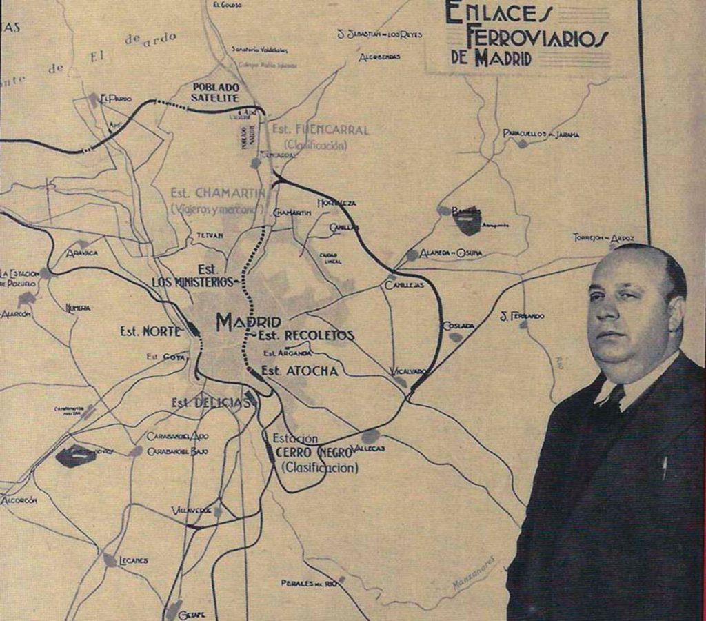 En esta foto del Plan de Enlaces Ferroviarios se aprecia el trazado del túnel Atocha-Chamartín representado en línea discontinua. Foto Fundación Indalecio Prieto