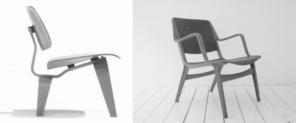 Silla LCW, Charles & Ray Eames, 1945 | Silla AX, Peter Hvidt, 1950
