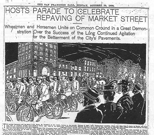 Imagen del El 25 de julio de 1896; manifestación que dio cita a miles de ciclistas y más de 100.000 espectadores en San Francisco. Vía Manu Fernández