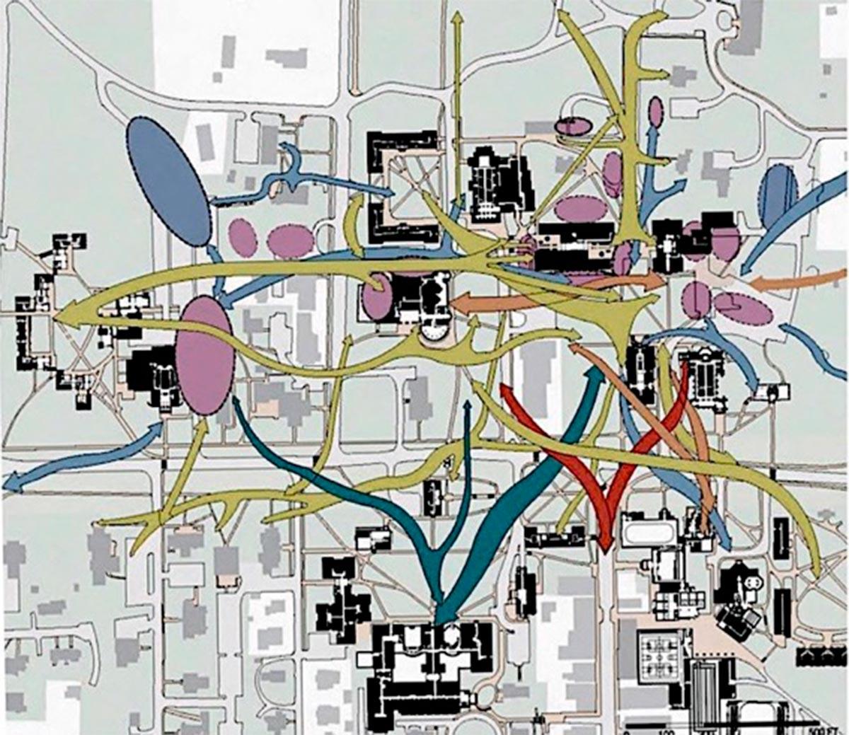 Plano con esquemas y diagramas representativo de los análisis urbanos. Campus College Wiliams de1975. Williamstown, Massachusetts, Estados Unidos. Fuente Elaboración propia a partir de plano de VSBA Architects.