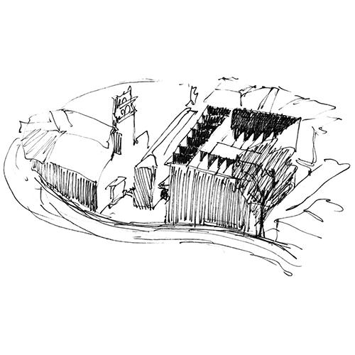 Croquis de Luis Moreno Mansilla de vista aérea del museo de Zamora. Fuente Varios Autores, Lo que aprendí del Profesor Luis M. Mansilla (Barcelona Arquia, 2012), 24-25.